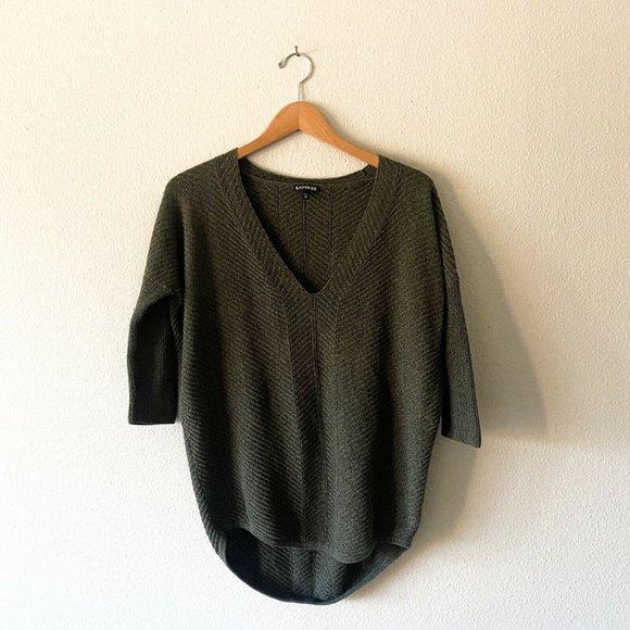 Express dark green half sleeve sweater knit size M